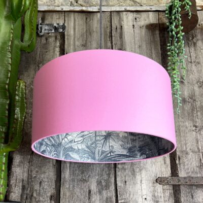 Inky Blue Rainforest Silhouette Lampshade in Candy Floss Pink Cotton