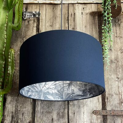 Inky Blue Rainforest Silhouette Lampshade in Deep Space Navy Cotton