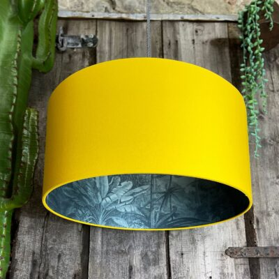 Ocean Rainforest Silhouette Lampshade In Egg Yolk Yellow Cotton