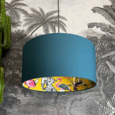 Mustard ChiMiracle Lampshade In Petrol Blue Cotton